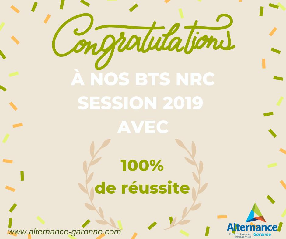 100% de réussite BTS NRC Alternance Garonne 2019